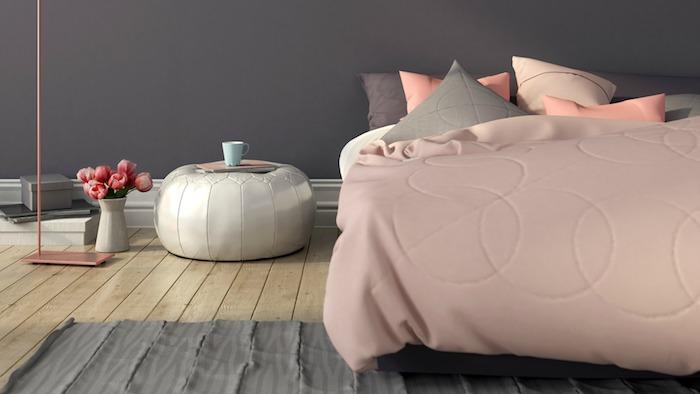 Peinture rose poudré deco rose poudré associer avec rose dorée lit avec ligne rose et gris