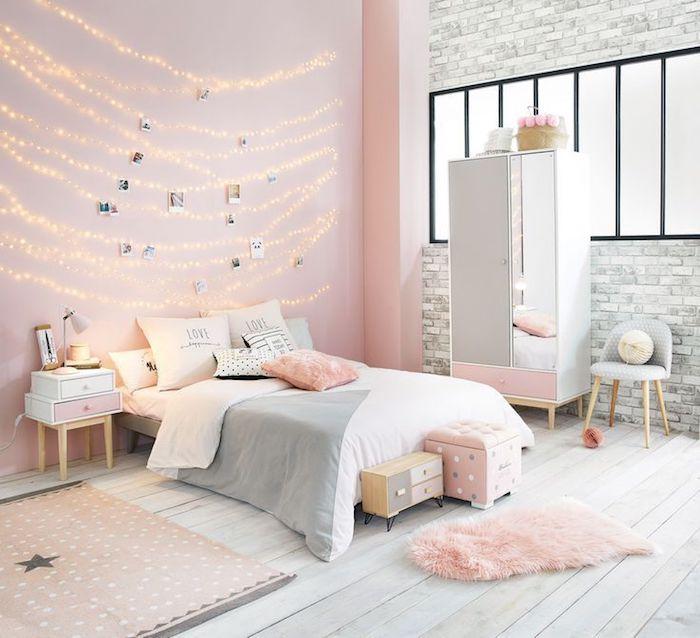 Deco chambre petite fille chambre rose poudré déco chambre rose gold idée décoration guirlande lumineuse