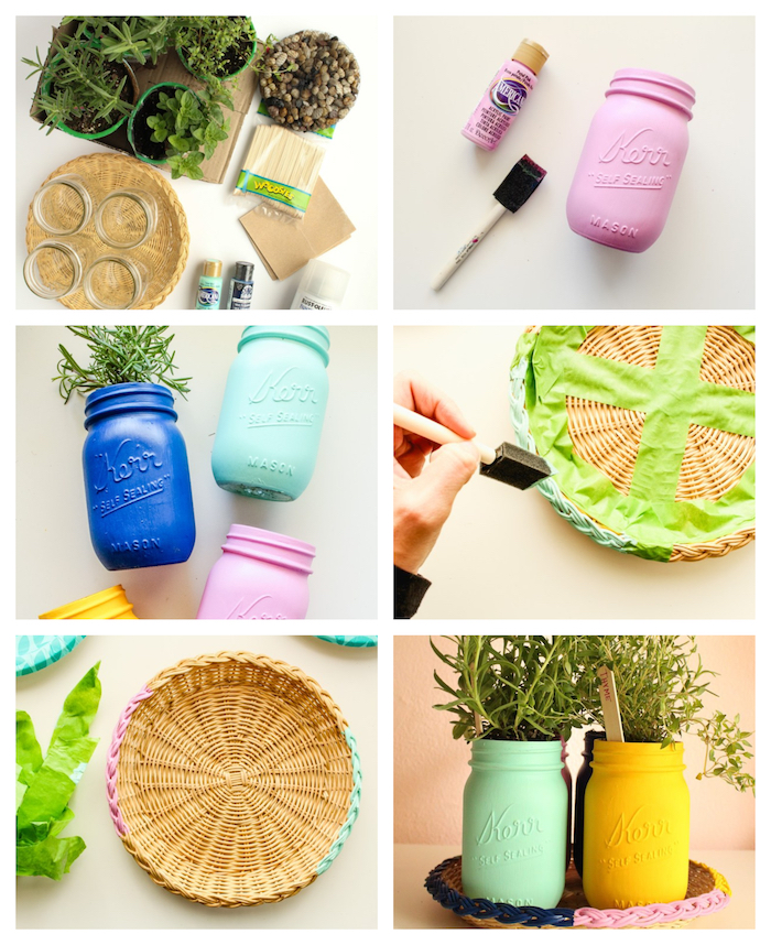 pots d ingrédients colorés de peinture avec étiquettes en batonnets de glace dans un panier aux bords colorés