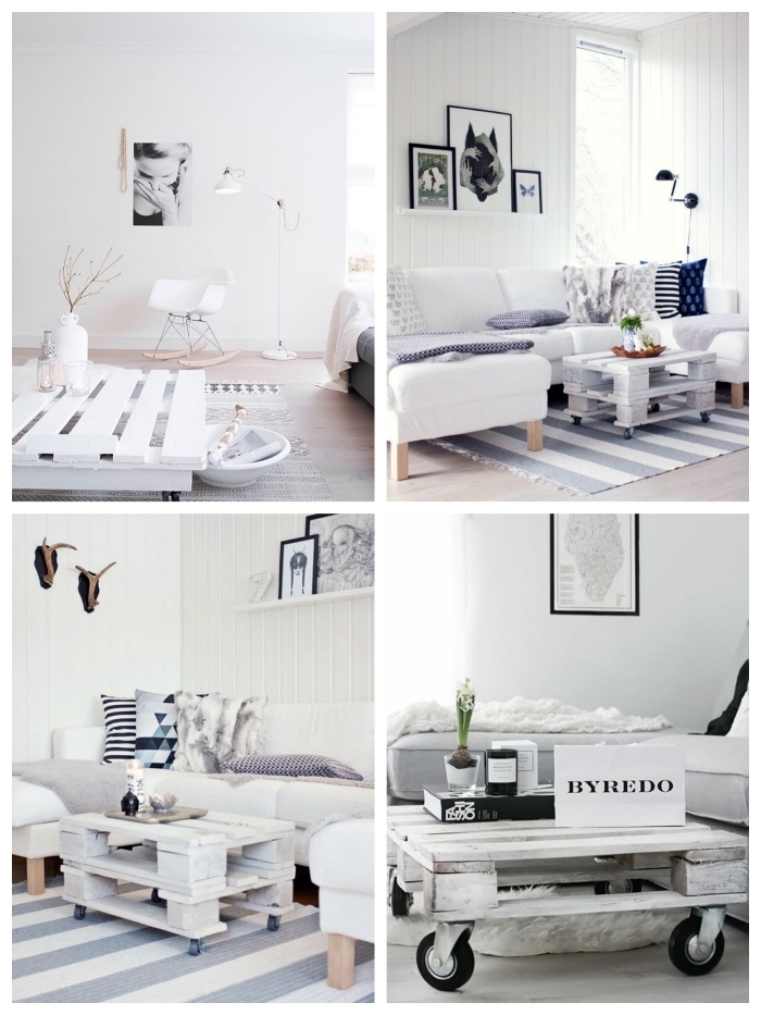 idée déco avec une table basse palette blanche dans un intérieur blanc immaculé d'esprit scandinave