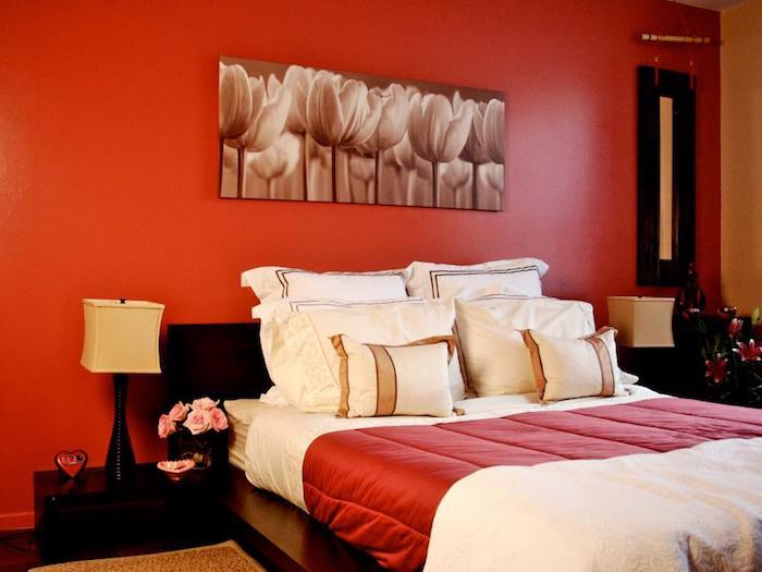 Chambre bleu gris peinture mur chambre aménagement chambre adulte choix couleur mur rouge tulips peinture