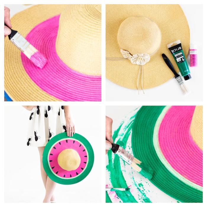 personnaliser un chapeau été à motif pastèque en rose, noir et vert, activité manuelle ado à faire soi meme