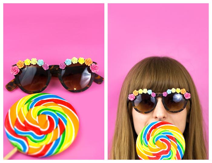 customiser des lunettes de soleil à fleurs colorés artificielles en bordure, sucette colorée arc en ciel