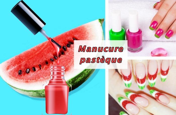 exemple de déco pour ongles longs avec la technique french manucure en couleurs, nail art à design pastèque