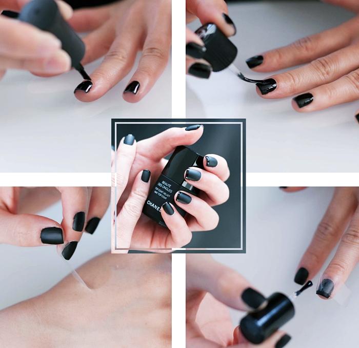 modele ongle nail art en noir, comment faire une french manucure en noir brillant et noir mate chez soi, idée manucure élégante facile