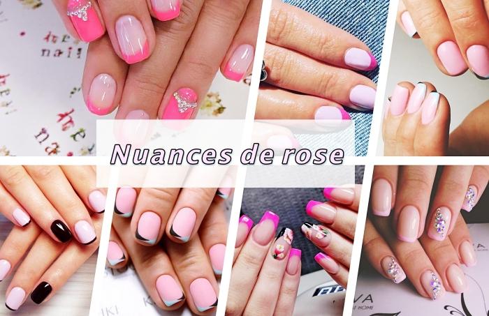 comment réaliser une deco ongle originale avec la technique manucure française en rose, nail art avec déco en cristaux