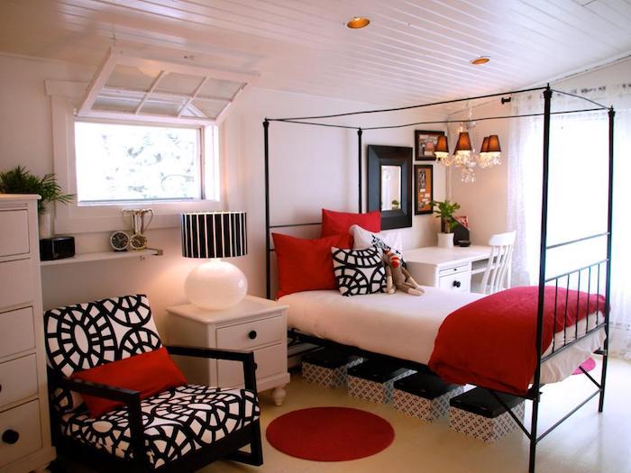 Couleur de peinture pour chambre bleu gris idée comment assortir les couleurs rouge blanc et noir
