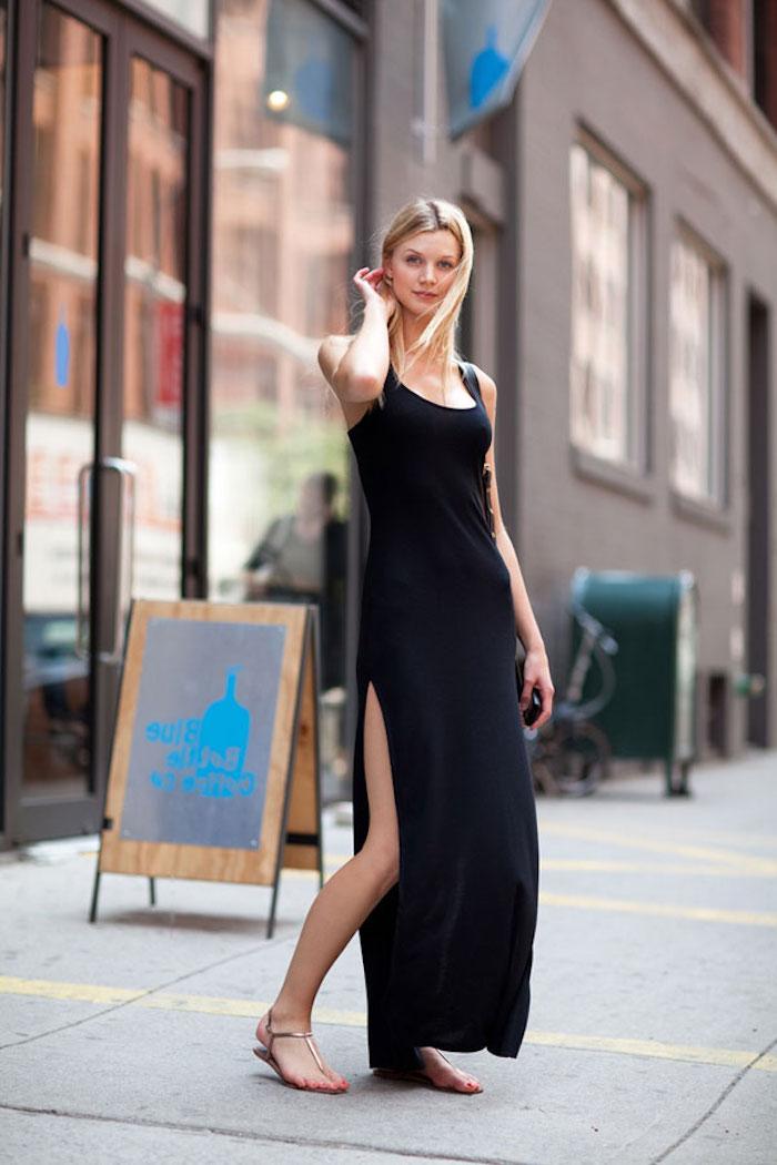 Robe longue moulante robe été longue la plus belle robe d'été légère à choisir longue robe fendue robe noire longue été