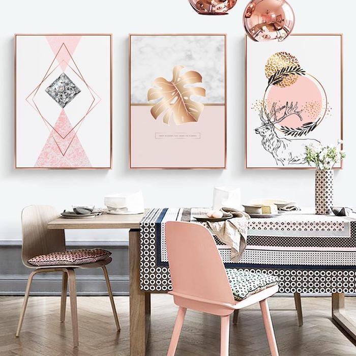 Chambre fille deco rose poudré peinture vieux rose couleur confort chez soi salle à manger rose doré