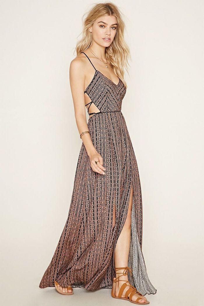 Style hippie robe longue blanche boheme robe longue été pas cher choix de robes longues robe fendue