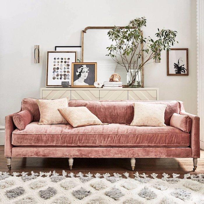 Canapé rose tapis shaggy les couleurs qui vont avec le rose comment décorer sa chambre moderne