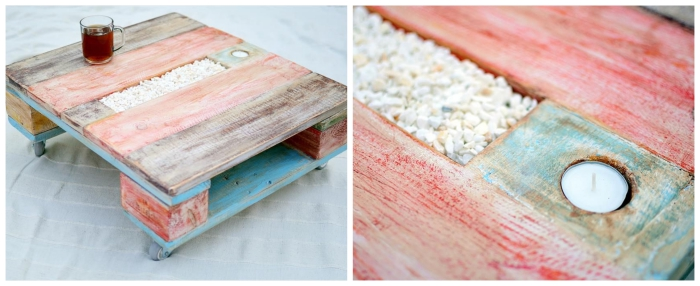 une table basse originale façon plateau de service réalisé en bois de palette récup en patine colorée, avec un bougeoir intégrée