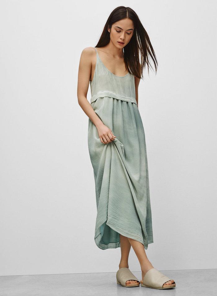 Robe fluide longue robe longue été pas cher tendances en robes pour femme mint couleur mi longue robe chic