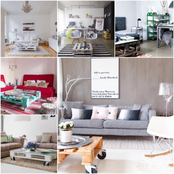 la table basse palette transforme nos salons en y apportant une touche d'originalité par son aspect à la fois brut et chic