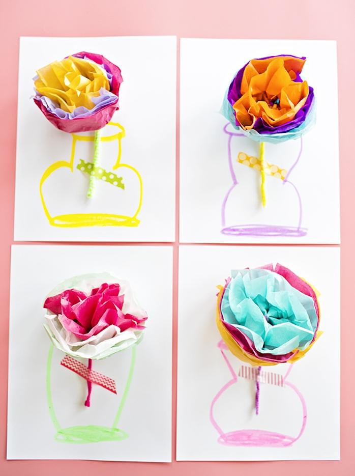 idee cadeau maitresse maternelle, dessin de vase sur un bout de papier avec une fleur 3d en papier de soie coloré