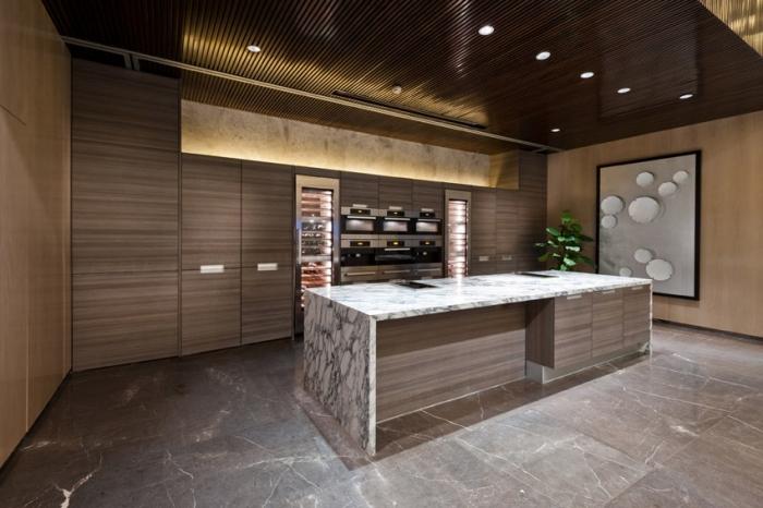 décor moderne dans une cuisine contemporaine foncée aux murs marron et beige avec revêtement partiel bois