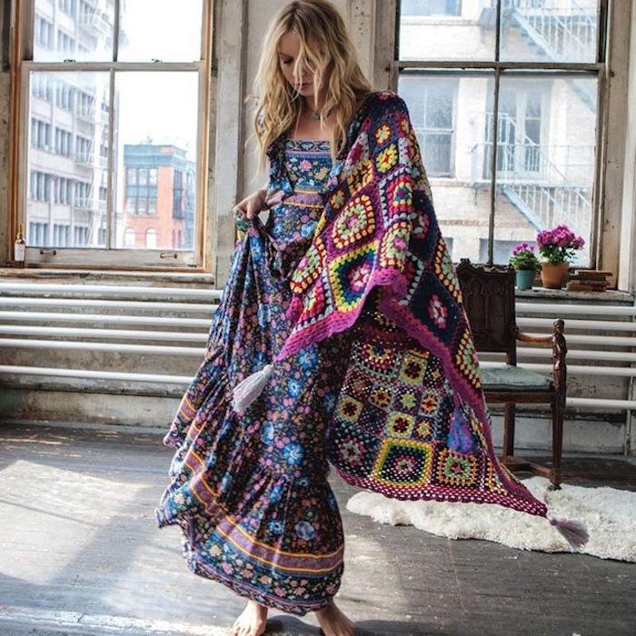 Robe longue hippie chic vetement hippie chic manches longues et ras de cou poncho pour top robe fleurie confortable style décontracté