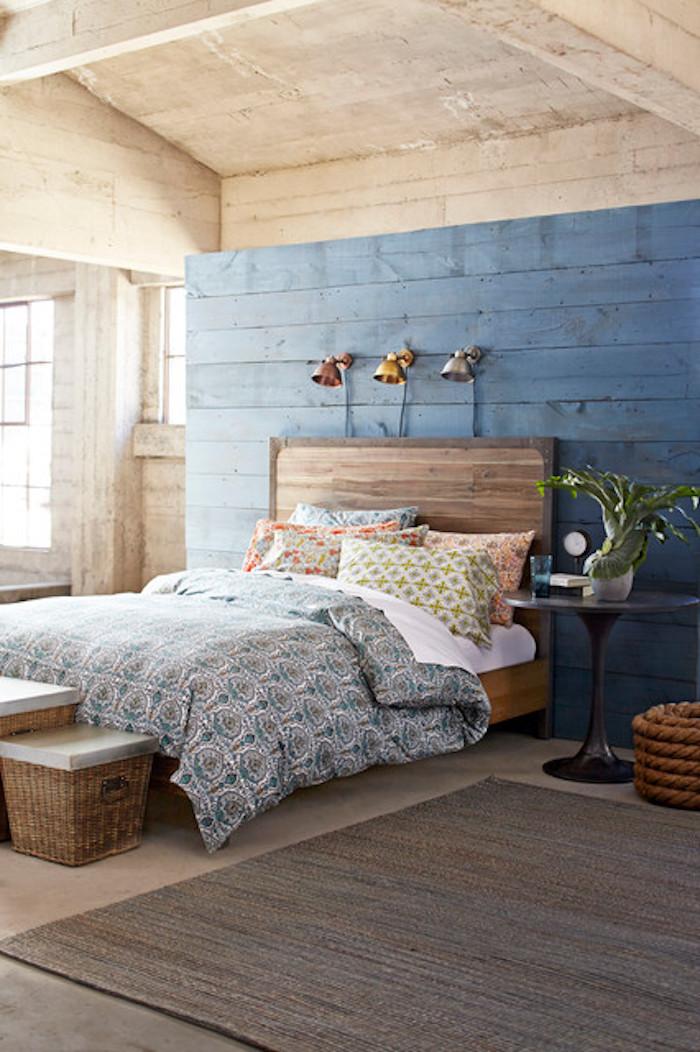 Aménagement original de chambre adulte peinture mur chambre cocooning déco chambre à coucher