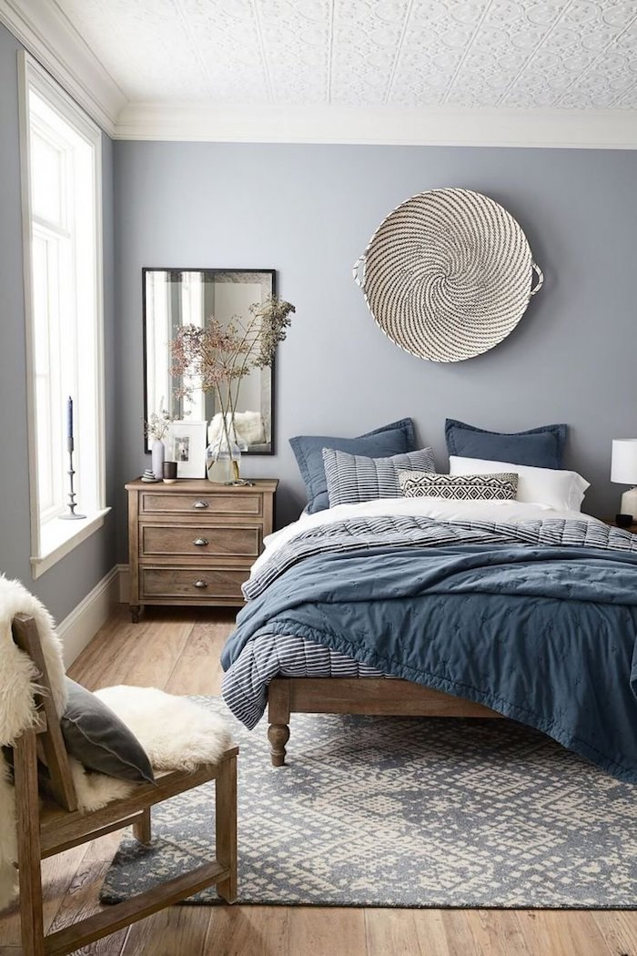 Parfait Chambre Parentale Moderne Peinture Mur Chambre Hygge Déco Scandinave Simple  Gris Bleu Blanc Couleurs Chambre à Couleur Idéale Pour Chambre Adulte ...