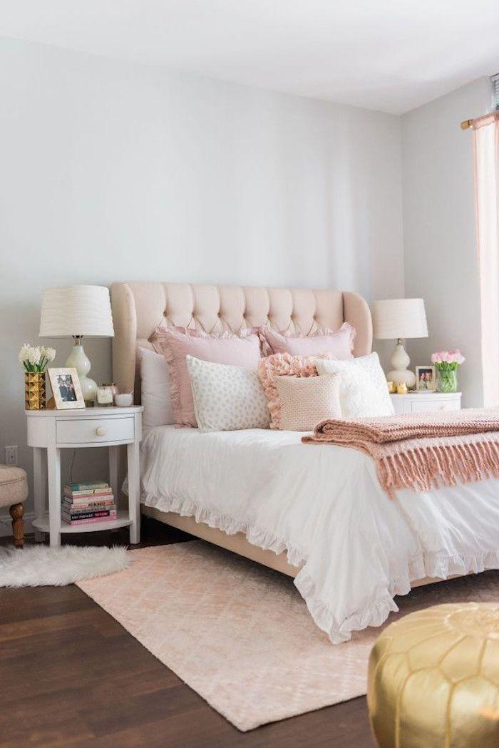 Peinture rose poudré chambre rose et blanc appartement decoration chambre à coucher rose adulte