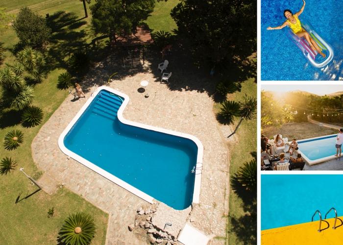 assurance pour votre piscine extérieure enterrée ou semi-enterrée, modèle de piscine extérieure avec échelle