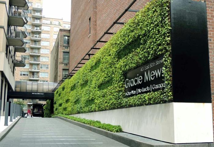cloison végétale, mur végétalisé, espace public, entrée de parking et voie qui mène a l'entrée principale, jardin vertical, inscription Gracie Mews