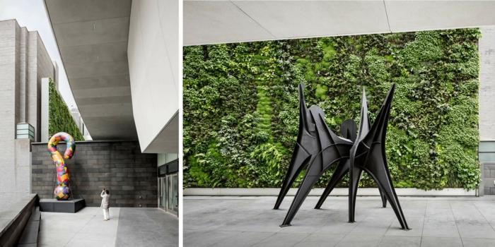 mur vegetal exterieur, salle d'expositions, musée d'art contemporain, figures excentriques, créations colorées, murs en béton, grands espaces