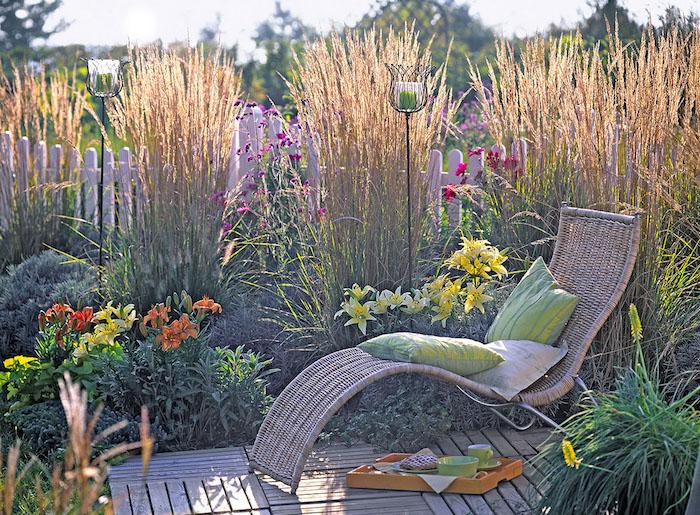 brise-vue végétal fait de plantes et de fleurs pour une intimité de jardin colorée