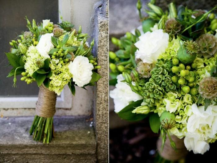bouquet de mariée champetre, tendance des mariages shabby et rustiques