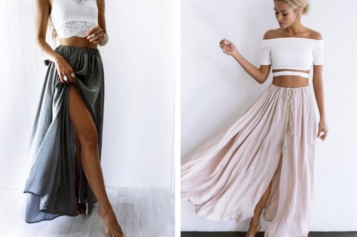 idée tenue de style boho chic pour plage en jupe longue fluide de couleur rose pastel ou gris foncé avec top blanc