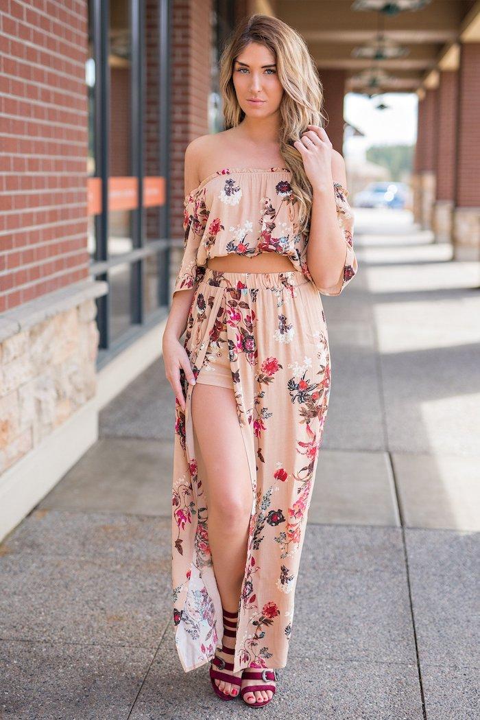 Hippie chic robe longue deux pièces jupe pantalon et top court épaules dénudées robe boheme chic manches longues et ras de cou vetement hippie chic tenue décontractée chic parfait pour vacances