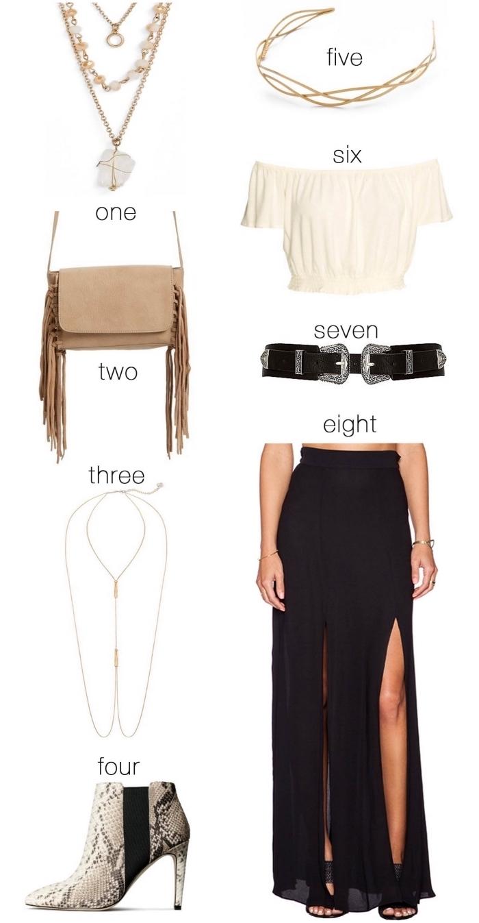 idée comment assortir ses vêtements et accessoires de style bohème chic, combiner jupe longue fendue noire avec top blanc
