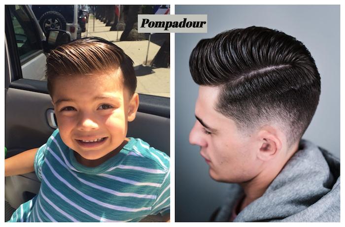 coupe pompadour enfant et adulte avec de cheveux gominés en banane, coupe de cheveux pour garçon originale