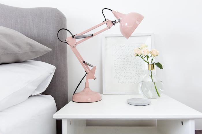 Chambre rose poudré decoration chambre rose et blanc adulte chambre déco lampe rose chambre gris et blanc