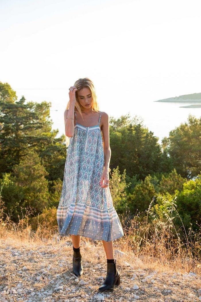 Robe longue a fleur robe de plage femme se sentir en confort l été tenue femme bohème chic style