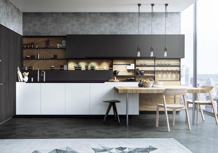 design intérieur de cuisine grise et bois avec plafond blanc, aménagement cuisine avec meubles haut noirs et meubles bas blancs sans poignées
