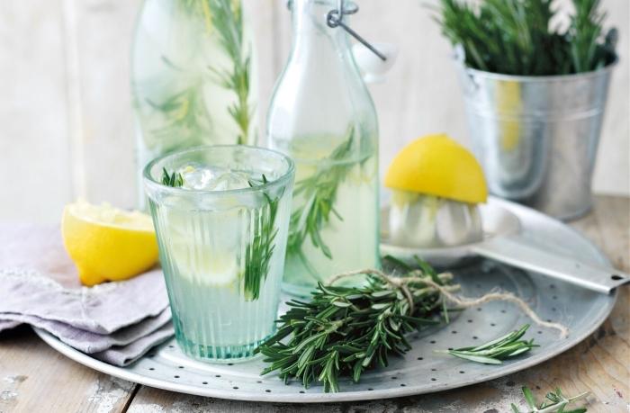 exemple de boisson rafraîchissante préparée avec de l'eau froide et jus de citron, idée comment servir une limonade