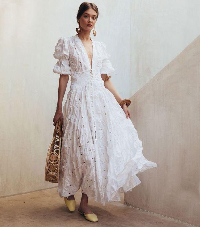 Robe longue blanche vetement hippie chic simple tenue décontracté blanche adorable style cuba