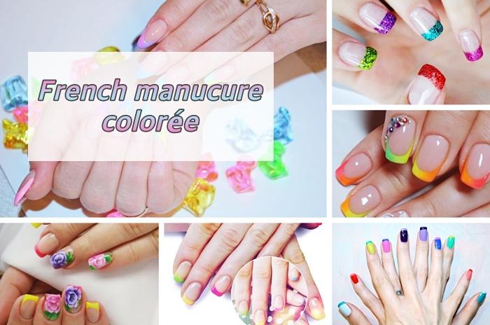 idée quelle couleur choisir pour faire une manucure française originale, modèle de nail art multicolore avec base transparente