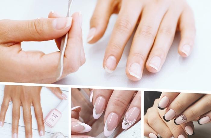 modele ongle longs de forme amande à base nude et manucure rose pastel à décoration trait en glitter argenté et perles