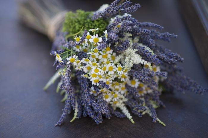 petites marguerites et brins de fleurs violets arrangées en bouquet sympathique
