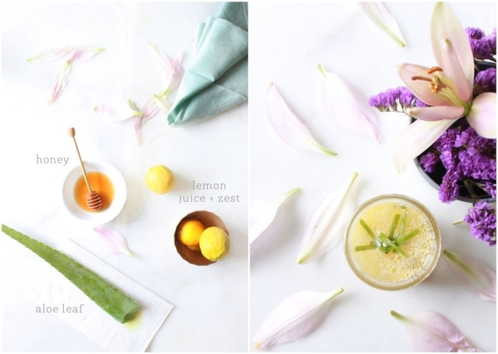 soin du visage doux et naturel avec un masque miel citron et aloé vera à effet exfoliant et anti imperfections
