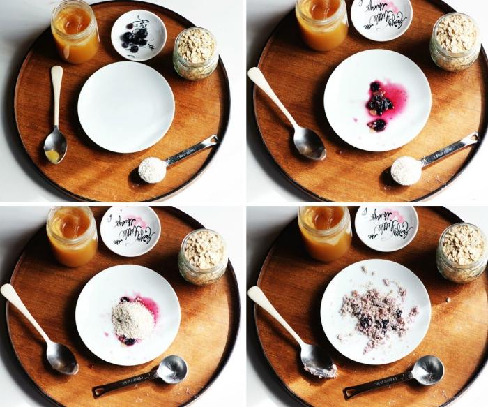 recette facile de masque miel, flocons d'avoine et myrtilles pour une douce exfoliation le matin, masque naturel pour une peau éclatante