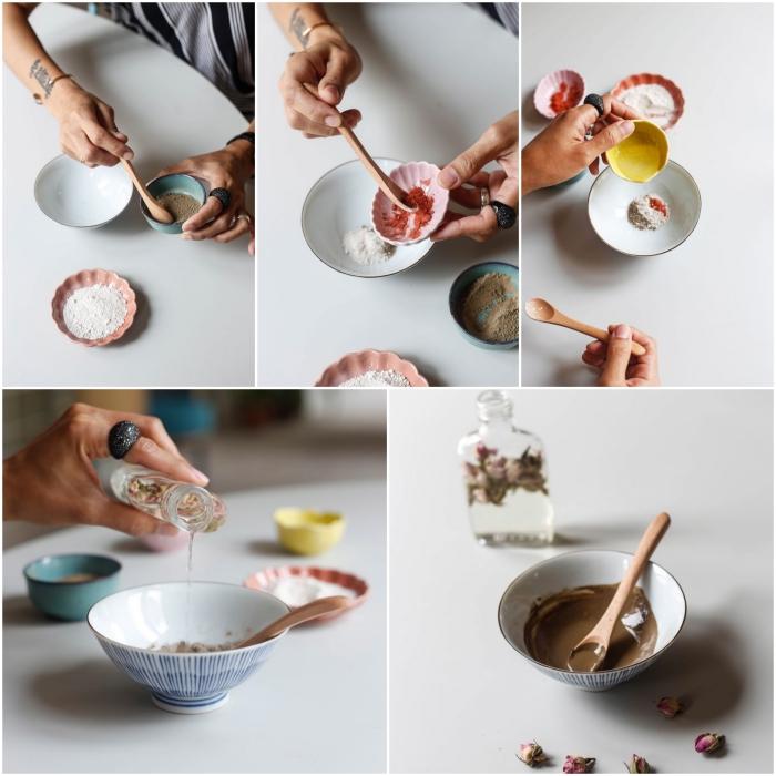 routine soin du visage naturel pour nettoyer les impuretés avec un masque purifiant diy à effet rajeunissant, à l'argile, extraite de thé vert et glycérine