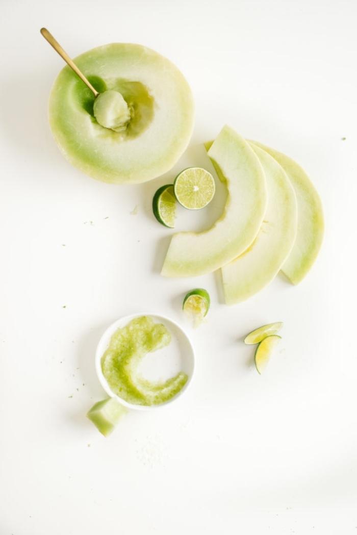 recette de masque maison visage au melon et citron vert pour une peau douce et tonifiée, un masque fruité diy au melon