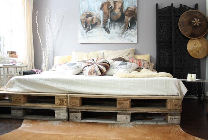 lit diy palette eur deux couches pour sommier fait maison rustique en bois