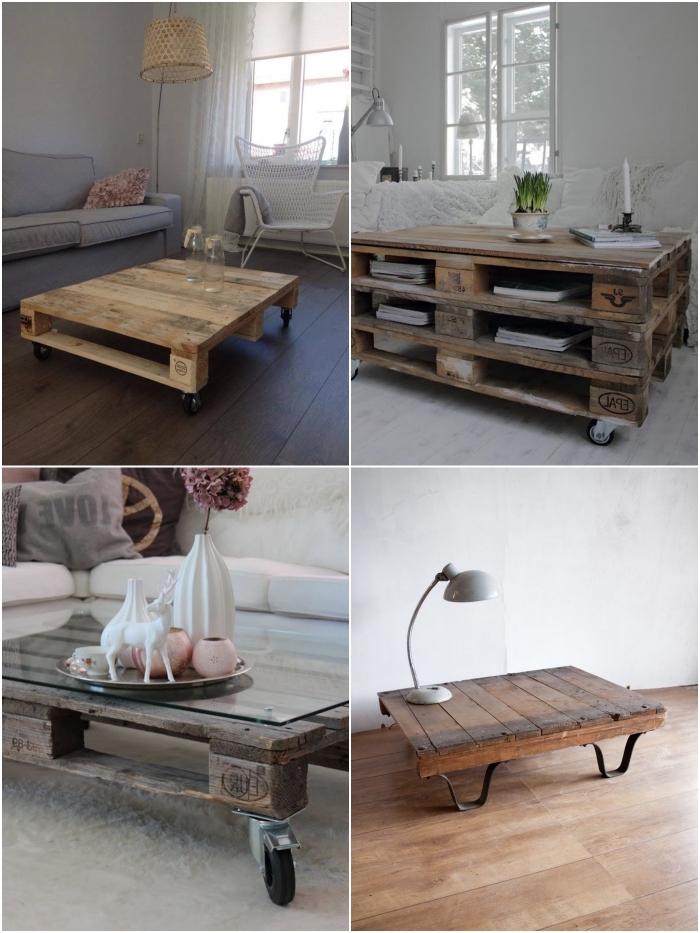 table basse originale au look brut industriel réalisée avec des palettes récupérées dont la structure a été légèrement modifiée