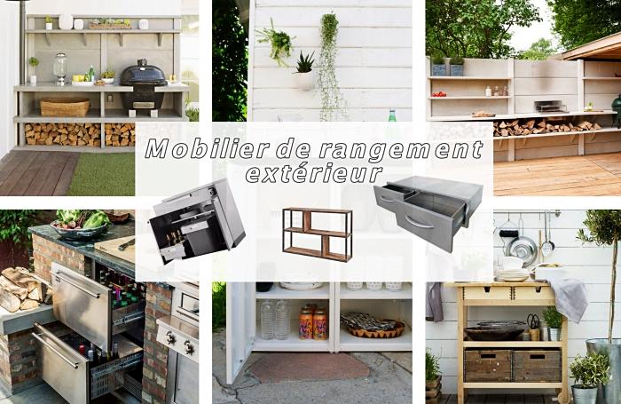 choix de plan de travail exterieur solide et durable, idée mobilier de rangement extérieur de bois solide ou inox