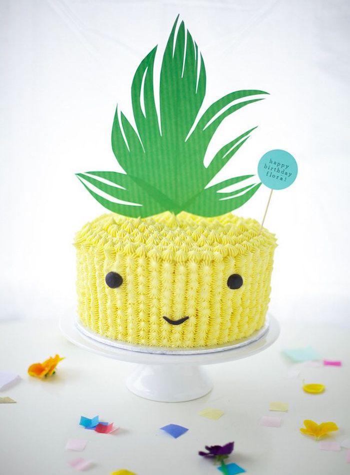 Comment décorer le gateau anniversaire 3 ans gateau rapide cool idée pâtisserie amoureux ananas