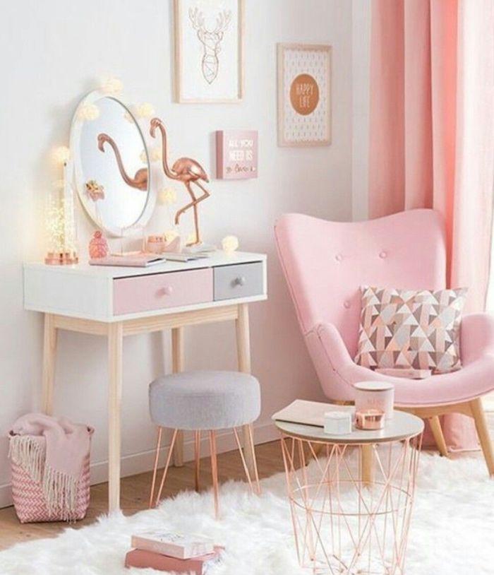 Chambre rose poudré et taupe peinture rose poudré idée comment décorer coin de lecture et coin de beauté